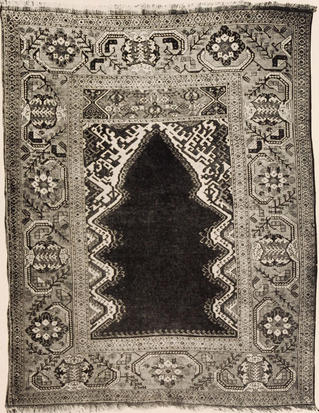 17th-century prayer rug, Turkey. By American Art Association; Townsend, Horace, 1859-1922 [No restrictions], via Wikimedia Commons.