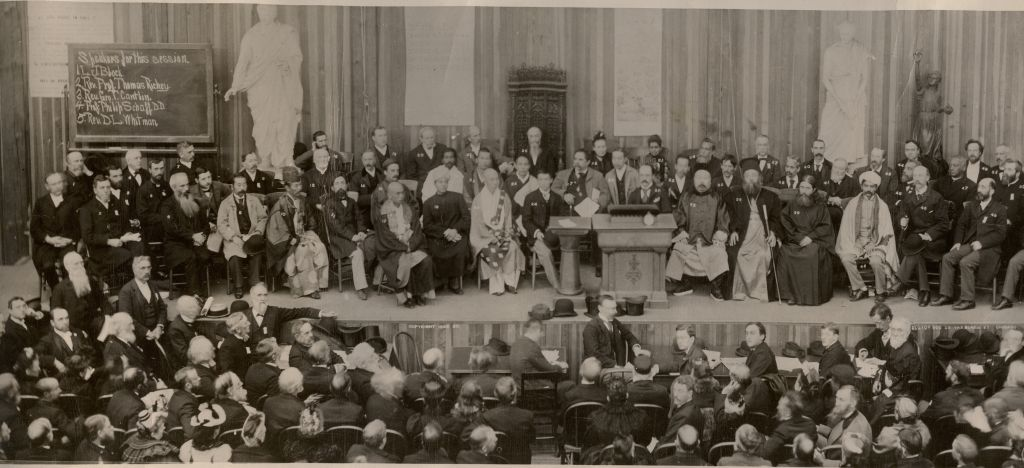 Parliament of the world's religions Chicago meeting. Wikimedia Commons